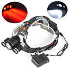 BORUIT 3x XM-L T6 White+2R5 Red LED 6000LM Bicycle Head Light Headlamp Torch+CH