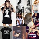 New Summer Women Fashion Letter Print Loose Tops Casual Short Sleeve Tee Shirts