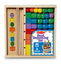 Melissa & Doug Wooden Bead Sequencing Sort & Stack Set Classic Wood Toy 428621