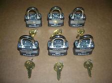 Lot of 6 New Master Lock Padlocks #1KA Keyed Alike. Same key opens all locks
