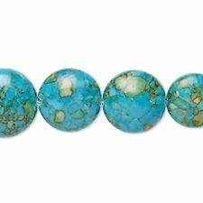 7345 Turquoise Assembled Beads Graduated Puffed Coin 10/20mm *UK EBAY SHOP*