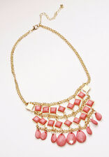 FANTASTIC FLATTERING GOLD TONE CHAIN CHOKER CORAL PINK BEADS & CHARMS (CL18tray)