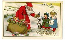 Merry Christmas-RED SUIT SANTA GIVING GIRL A DOLL-Postcard Embossed/Terrier Dog