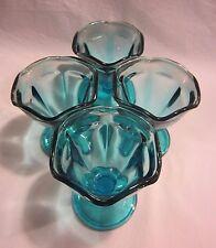 """Anchor Hocking Set of 4 Aqua Blue 3.75"""" Glass Footed Sherbet"""