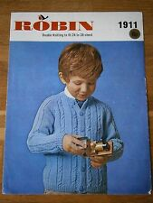 VINTAGE KNITTING PATTERN ROBIN 1911 DK CHILDS CABLE CARDIGAN TO KNIT