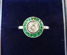 Gorgeous 18ct white gold art deco Emerald and Diamond target ring