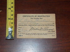 CERTIFICATE OF REGISTRATION L CECIL WINTERS LANSING MICHIGAN 1960 VOTER CARD