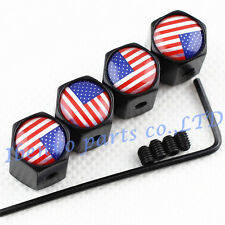 Anti-theft Black Metal Car Wheel Tyre Tire Stem Air Valve Cap For USA Old Glory