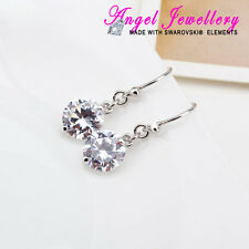 Jewelry 925 Silver Clear Crystal Swarovski Element Drop Diamond Fashion Earrings