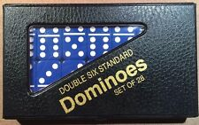 Blue Standard Double Six  Dominoes w/ Black & Red Case w/ FREE Shipping