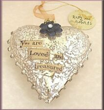 YOU ARE LOVED GLASS HEART ORNAMENT BY KELLY RAE ROBERTS FREE U.S. SHIPPING