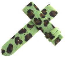 Authentic Womens Van Der Bauwede 20x19mm Green Leopard Pattern Watch Band NEW