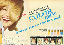 PUBLICITE ADVERTISING 075  1966  L'OREAL  laque  COLOR NET  ( 2p)