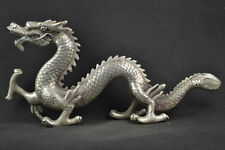 Old Decorated Miao Silver Carving Dragon Rare Noble Statues NR