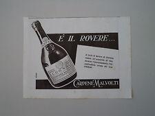 advertising Pubblicità 1941 COGNAC CARPENE' MALVOLTI