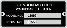 NEW REPRODUCTION JOHNSON SKEE HORSE SNOWMOBILE SERIAL NUMBER PLATE TAG