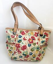 Relic by Fossil Beige Floral Handbag Purse Tote Shoulder Bag Lined Canvas
