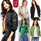 UK Womens MA1 Classic Padded Bomber Jackets Ladies Vintage Zip Up Biker Coats