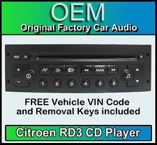 Citroen C3 car stereo CD player Citroen RD3 radio + FREE Vin Code and keys