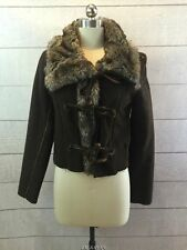 Steve Madden Faux Fur Suede Coat Womens Small Sherpa Short Fitted Brown