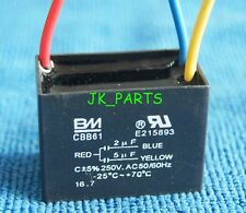 New BM CBB61 2uF+5uF 3 WIRE 250VAC Ceiling Fan Capacitor UL CERTIFIED