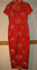 WOMEN'S DRESS Oriental Red with floral pattern Size 9? [Y59c]