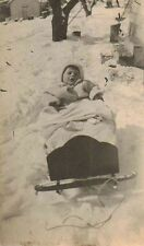 Old Vintage Antique Photograph Adorable Baby in Old Time Snow Sled