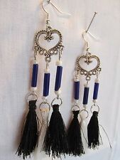 E359 TIBETAN SILVER HEART CHANDELIER WHITE/BLACK TASSELS SILVER PLATED EARRINGS