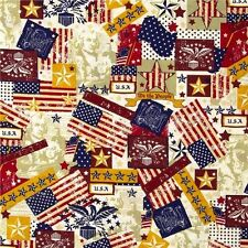 Made in the U.S.A. Antique Patriotic USA Icons Cotton Fabric Fat Quarter