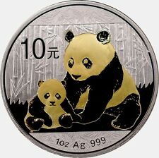 1 OZ Silber CHINA PANDA 2012 mit Goldapplikation gilded