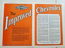 1926 Vintage Chevrolet Motor Car The Improved Two Page Original Color Ad