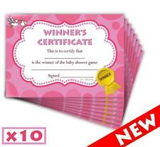 Baby Shower Winners Certificate - Pink/Girl - Game Prizes - 10 Pack - Lil'Tinka