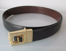 "Authentic YSL YVES SAINT LAURENT Men's Black Leather Belt 36"" Reversible Logo"