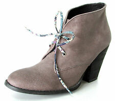 BOTTINES BOOTS DERBIES 39 derby cuir taupe talon lacets Ribu ONE STEP femme NEUF