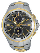 New Seiko SSC376 Coutura Solar Chronograph Two Tone Stainless Steel Men's Watch