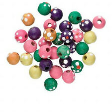 3825NB Bead Mix Painted Wood Flower Pink Green, 10mm Round Large Hole, 100 Qty