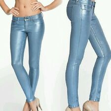 Guess Power Skinny Low-Rise Denim leggings in Ice Blue Foil In stores $179 sz 24
