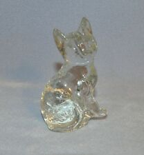 Vintage Clear Art Glass Cat Figurine Paperweight with Yellow/Greenish Glass Hue