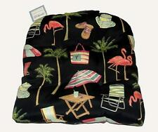 Stratford Flamingo Palm Trees Beach In/Outdoor Tufted Wicker Seat Cushion NWT
