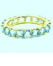 925 SS 14K GP 3.27 CTW PRINCESS CUT PALE BLUE TOPAZ ETERNITY RING SIZE O