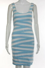 Bailey 44 Dressed Light Blue White Striped Sleeveless Tiered Stretch Knit Dress