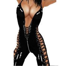 WetLook PVC Spandex Lingerie Catsuit Cat woman Jumpsuit Playsuit Fits 8-12