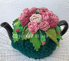 Handmade Crochet tea cozy Green tea cover  Pink Shades Roses Tea cosy
