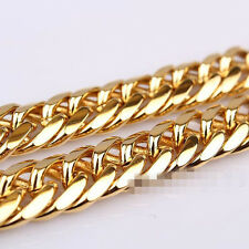 "24K Yellow Gold Filled Mens Necklace Solid Cuban Curb Chain Jewelry 23.6"" 10mm"