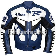 Yamaha Biker Motorcycle Racer Genuine Cowhide Leather Rider Jacket with Armour