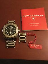 Swiss Legend Commander Wrist Watch Stainless Black Dial Roman Numerals