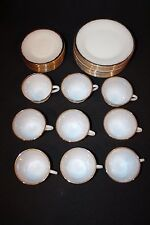 Lot 30 pc Anchor Hocking Fire King White Milk Glass Swirl with Gold Trim