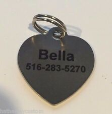Personalized Stainless Steel LARGE HEART Dog Tag Cat Tag Pet ID Tag Pet Tag