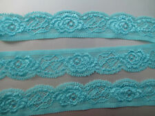 Beautiful! 5 yards of blue elastic lace embroidered peony flower pattern