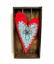 Red Heart and Turquoise Cross mosaic assemblage wall art sculpture - Faith decor